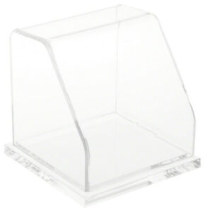 Plymor Clear Acrylic Slanted Front Display Case With Base 4 X 4 X 4