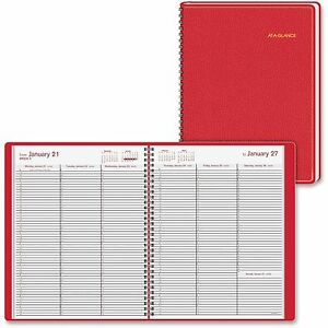 At a glance Weekly Appointment Book Jan dec 8 1 4 x10 7 8 Red 7094013