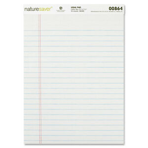 Nature Saver Legal Pads Ruled Recycled 8 1 2 x11 3 4 50 Shts pad We 00864