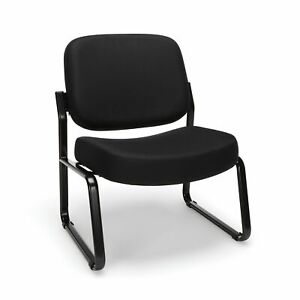 Ofm Big And Tall Upholstered Armless Guest reception Chair Black 409 805