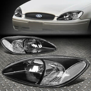For 00 07 Ford Taurus Black Housing Clear Corner Headlight Replacement Headlamp