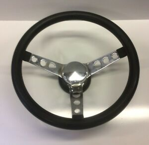 Vtg 13 Inch Steering Wheel Chrome Black Aftermarket Hot Rod Rat Rod Lowrider