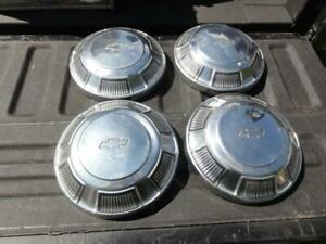 4 Vintage Chevrolet Bowtie Hubcaps 1960s 1970s Dog Dish Poverty Impala Biscayne