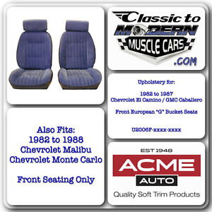 1978 1987 El Camino Caballero Front Bucket Seat Only Upholstery