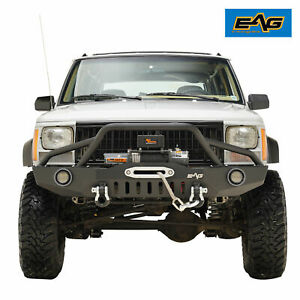 Eag Fits 84 01 Jeep Cherokee Xj Rock Crawler Front Bumper W led Lights