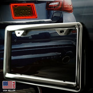 Led Lighted License Plate Frame Cover Holder Black And Chrome Universal On Cars