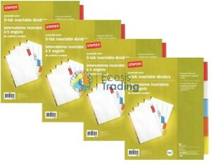 Staples Color Large Tab Insertable Dividers 5 Tabs 13489 White Paper Ave11121