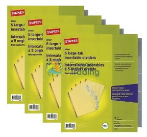 Staples Clear Large Tab Insertable Dividers 5 Tabs 13486 Ave11110