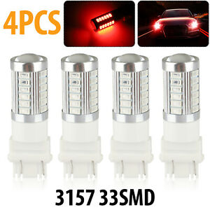 4pcs Red 3157 3457 3057 Signal 33smd Backup Reverse Tail Turn Led Light Bulbs