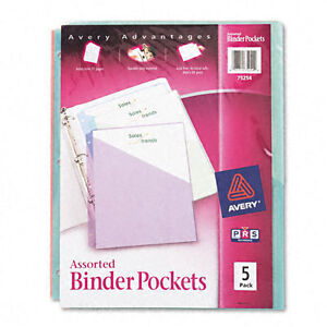 Avery Binder Pockets 3 hole Punched 9 1 4 X 11 Assorted Color 077711752542
