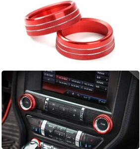 Air Conditioner Switch Knob Button Ring Cover Trim For Ford Mustang 15 2019 Red