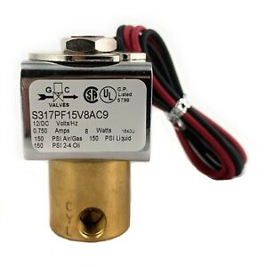 electric 3 way Direct Acting Brass Solenoid Valve 12vdc Normally Closed 1 8