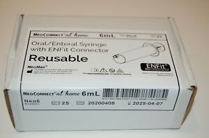Enfit 6ml Bolus Reusable O ring Syringe Box Of 25 only 0 07 Per Use