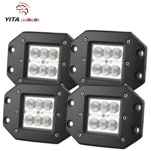 4x 5inch Flush Mount Led Work Lights Flood Bumper Reverse Pods Tractor Ute 4x4