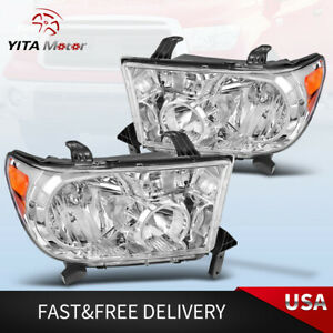Yitamotor For 2007 2013 Toyota Tundra 2008 2017 Sequoia Headlights Chrome Lamps