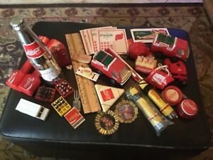 Coca-Cola collectible lot, cards, trucks, bottles, rulers, ornaments, keychain