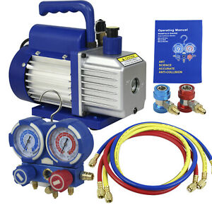 Air Vacuum Pump Hvac Refrigeration Kit A c Manifold Gauge Set Combo 4cfm 1 3 Hp