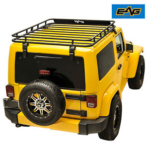 Eag Fits 07 18 Jeep Wrangler Jk 2 4 Door Roof Rack Cargo Basket W Wind Deflector