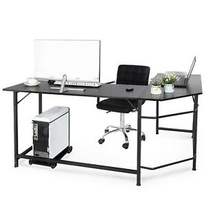 Black L shaped Desk Corner Computer Gaming Laptop Table Workstation Home Office