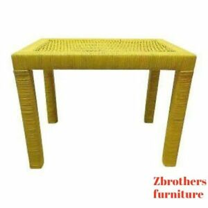 Vintage Mid Century Drexel Yellow Pop Wicker Parsons Lamp End Side Table Stand
