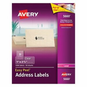 Avery 5660 Easy Peel Clear Address Labels 1 X 2 5 8 1 500 Labels ave5660