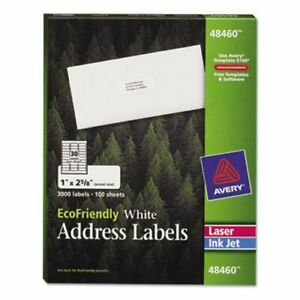 Avery Ecofriendly Labels 1 X 2 5 8 White 3000 pack ave48460