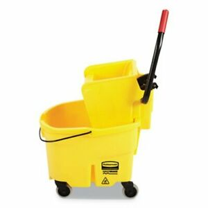 Rubbermaid Wavebrake 6 5 Gal Bucket side Press Wringer Yellow rcpfg748000yel