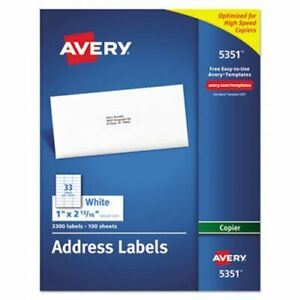 Avery Self adhesive Address Labels For Copiers 3 300 Sheets Per Box ave5351