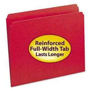 Smead File Folders Straight Cut Reinforced Tab Red 100 box smd12710