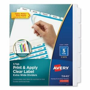 Avery Index Maker Clear Label Dividers 5 tab 11 1 4 X 9 1 4 5 Sets ave11440