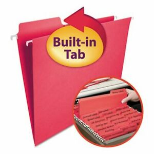 Smead Fastab Hanging File Folders Letter Red 20 box smd64096