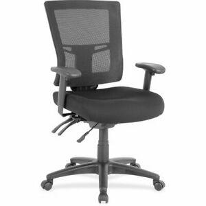 Lorell Swivel Mid back Mesh Chair Upholstered Black 1 Each llr85563