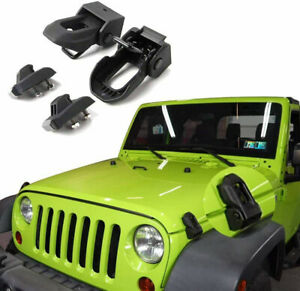 For Jeep Hood Latch For 2007 20 Jeep Wrangler Jk Jl Black Stainless Steel Catch