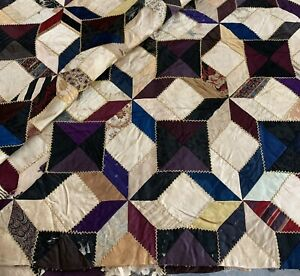 Vtg Antique Quilt Top 60 X60 Unfinished Hand Sewn Early Fabrics
