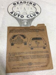 Nos Vintage Reading Aaa License Plate Tag Topper Original Packaging Excellent