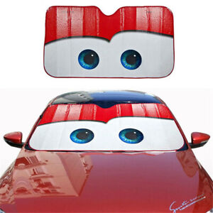Red Big Eyes Car Windshield Sun Shade Block Front Cover Anti uv With Suction Cup