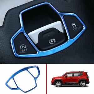 Blue Steel Console Electronic Handbrake Cover Trim For Jeep Renegade 2015 2020