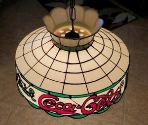 Vintage Stained Plastic Trademark Tiffany Style Coca Cola Hanging Light Fixture