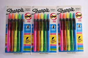 3 Sharpie Accent Smear Guard Non toxic Retractable Highlighter Set Chisel narrow