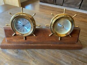 Vintage Seth Thomas Helmsman Ships Bell Clock And Barometer Combo With Mount