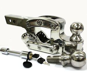 Adjustable Chrome Tow Stow Drop Raise Dual Ball Hitch Receiver 2 5 16 2