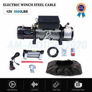 9500lbs Waterproof Ip68 Electric Winch With Steel Rope And Winch Cover