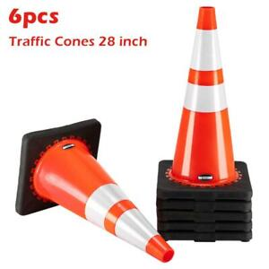 New 28 Pvc Fluorescent Reflective Road Traffic Parking Lots Safety Cones 6 Pcs