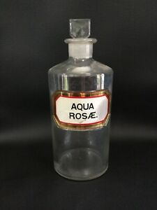 Antique Apothecary Bottle Rose Water Aqua Ros 9 Pharmacy Vanity