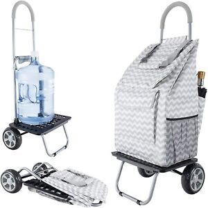 Dbest Products Bigger Trolley Dolly Grey Chevron Shopping Grocery Foldable Cart