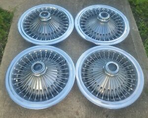 Set Of 4 Oem 1971 78 Dodge Chrysler Plymouth 15 Wire Spoke Hubcaps Wheel Covers