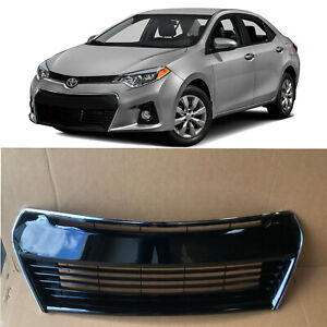 Front Lower Bumper Grill Grille Gloss Black For 2014 2015 2016 Toyota Corolla S
