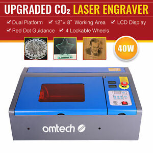 Omtech 12 x 8 40w Co2 Laser Engraving Laser Cutting Lcd Red Dot Guidance K40