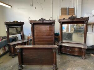 1190 Exceptional Antique American Oak Victorian Bedroom Suite
