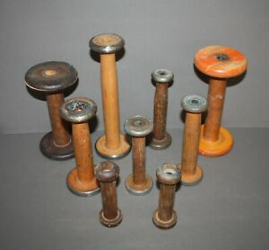Lot Of 9 Antique Vintage Industrial Textile Mill Wood Sewing Spools